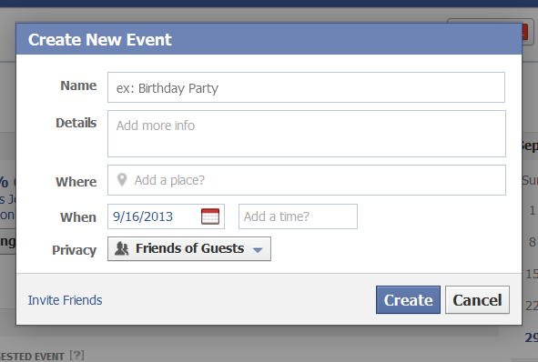 ... event just like your FB page. This is an example of an event I created
